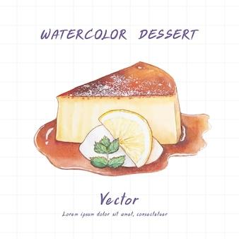Lemon cake painted in watercolor