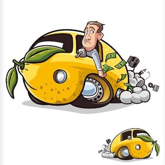 Лимонный автомобиль сломанный автомобиль печальный мультфильм