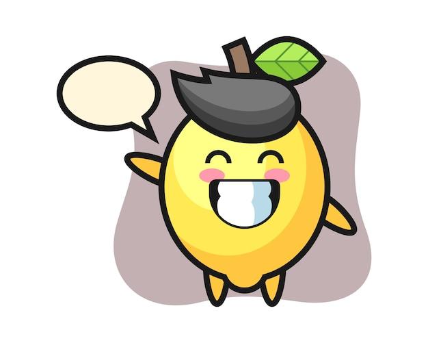 Лимонный мультипликационный персонаж делает жест рукой волны
