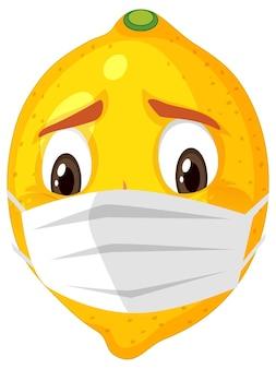 Lemon cartoon character wearing mask on white background