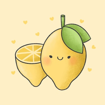 Lemon cartoon hand drawn style