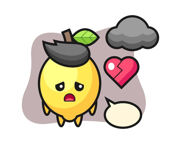 Lemon cartoon illustration is broken heart