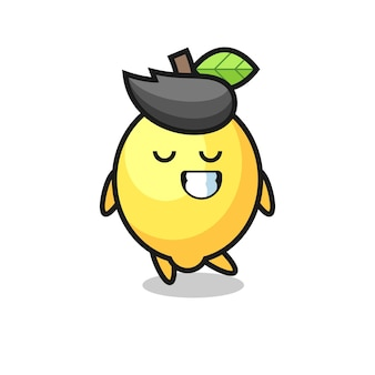 Lemon cartoon illustration with a shy expression , cute style design for t shirt, sticker, logo element