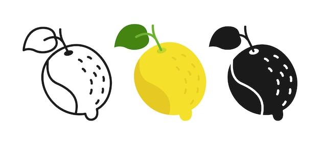 레몬 만화 세트 라인, 블랙 글리프 스타일. 프리미엄 벡터