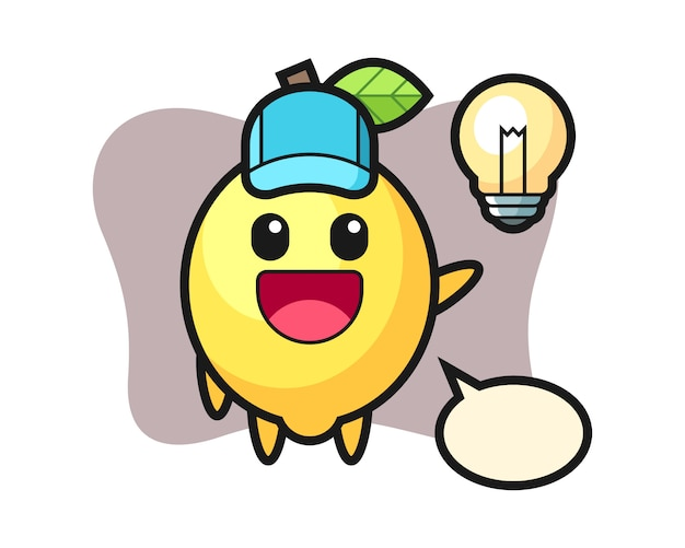Lemon character cartoon getting the idea