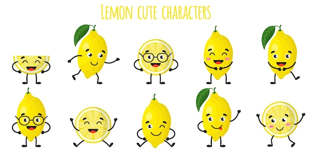 Лимонно-цитрусовые милые веселые веселые персонажи с разными позами и эмоциями. натуральный витаминный антиоксидант для детоксикации пищевых продуктов. изолированные иллюстрации шаржа.