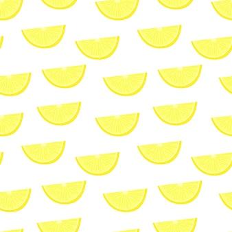 レモン柑橘系のジューシーなシームレスパターンオレンジスライス黄色パターン明るいフルーツの質感