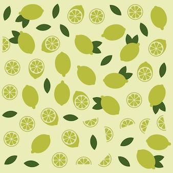 Лимонный цитрусовый вектор весело бесшовные модели. фон элемента формы извести