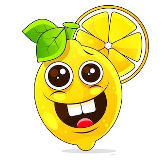Лимонный фруктовый мультипликационный персонаж, изолированные на белом фоне