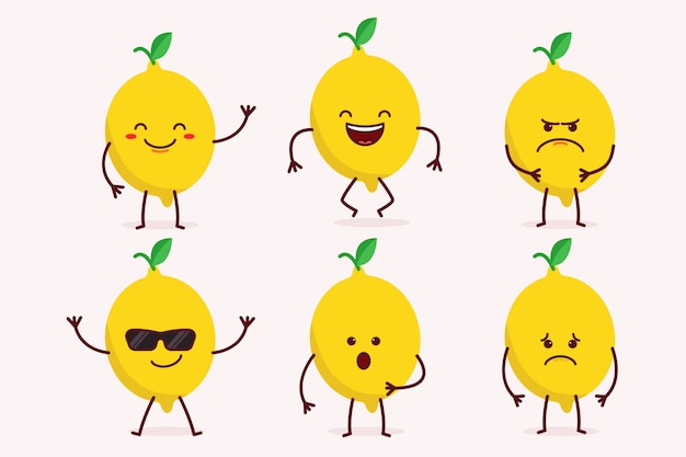 Lemon fruit character set