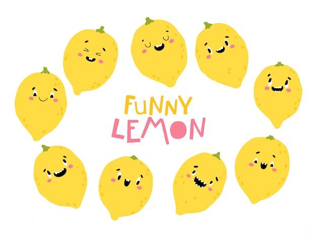 レモンフルーツコレクション。幸せそうな顔で面白いキャラクター。シンプルな手描きのスカンジナビアスタイルの漫画イラスト。ベビー用品の印刷に最適