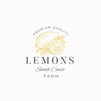 Lemon fruit farms abstract  sign, symbol or logo template. hand drawn lemons with leaves sketch with retro typography. vintage luxury emblem.