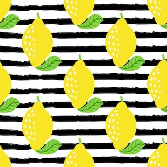 黒のグランジストライプのレモンフルーツパターン。レモン、葉とのシームレスな夏の柑橘類のパターン。熱帯の抽象的な幾何学的な背景。ベクトルイラスト。生地、壁紙のベクトル明るいプリント。