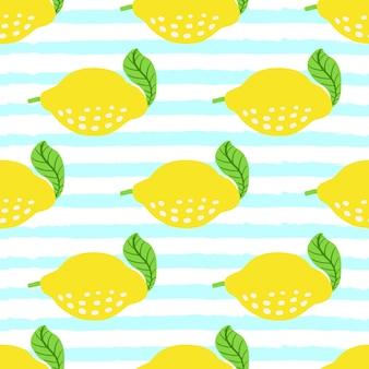 青いグランジストライプのレモンフルーツパターン。レモン、葉とのシームレスな夏の柑橘類のパターン。熱帯の抽象的なプリントの背景。ベクトルイラスト。生地や壁紙の明るいプリントをベクトルします。