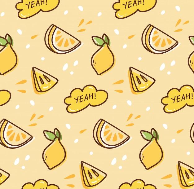 Lemon fruit seamless background in kawaii style