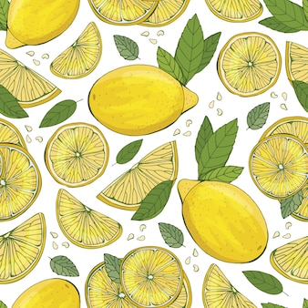 Lemon fruit seamless pattern. fashion design. food printing for dress, curtain or kitchen towel. hand drawn wallpaper. citrus sketch background. pattern for textiles, paper,