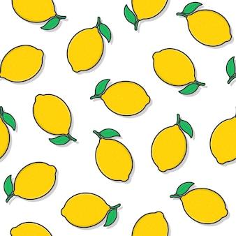 흰색 배경에 레몬 과일 원활한 패턴입니다. 신선한 레몬 아이콘 벡터 일러스트 레이 션