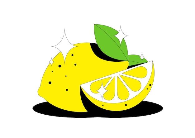 Lemon fruit ut slice and leaves of citrus lemon fruit isolated on white background