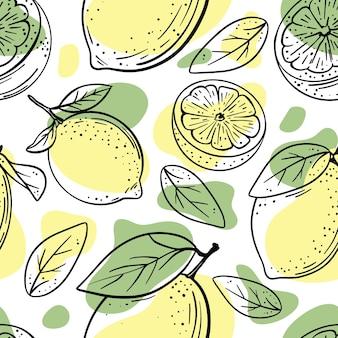 葉の手描きのシームレスなパターンとレモンの果実