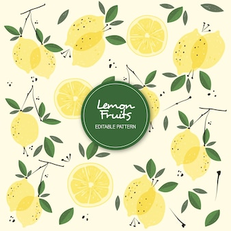 Lemon fruits editable pattern