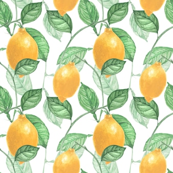 Lemon fruits and leaves seamless pattern