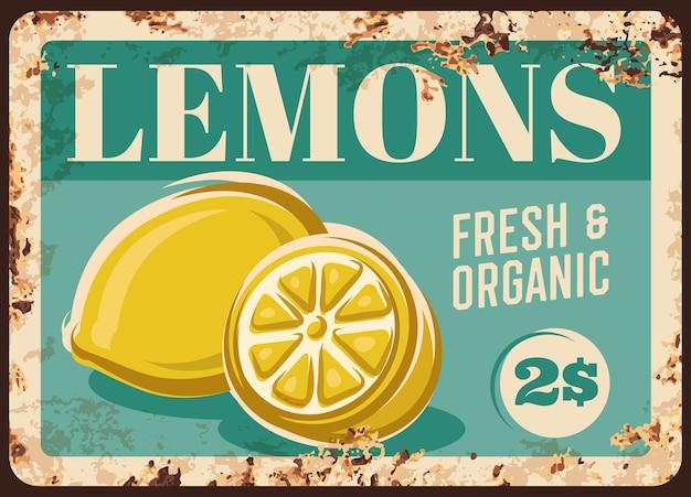레몬 과일 금속판 녹슨, 식품 농장 시장 가격 표시