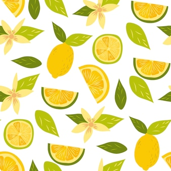 Lemon fruits pattern isolated on white. whole and halved lemon citrus fruit with juicy flesh and green leaves vector set. organic vegetarian fresh food. vitamin tropical juicy citrus.