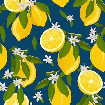 Lemon fruits seamless pattern with flowers and leaves