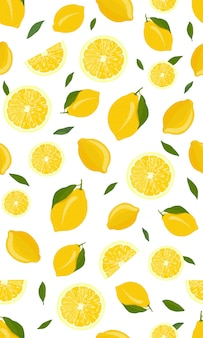 レモンフルーツのシームレスパターン