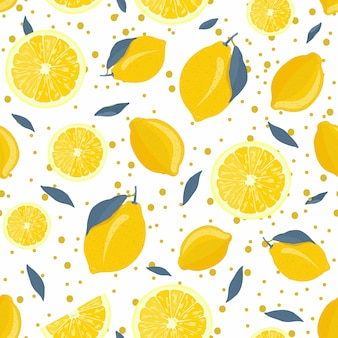 Lemon fruits and slice seamless pattern with gray leaves and sparkling