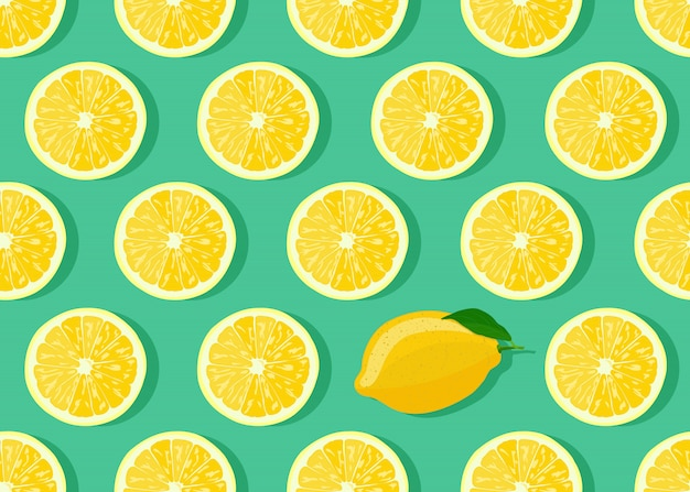 Lemon fruits slice seamless pattern