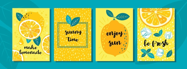 レモングリーティングカードセット:レモンフルーツ、ハーフ、スライス、花、角氷、ドロップ、挨拶。