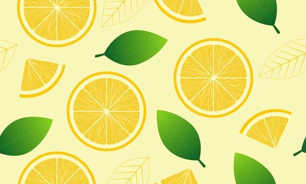 レモンの半分と緑の葉の黄色の夏の背景にシームレスなパターン
