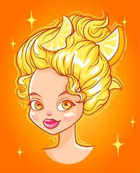 レモンの頭、女の子のイラスト