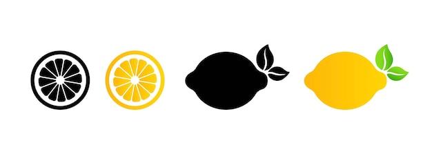 レモンのアイコン。フルーツサイン。柑橘類。孤立した白い背景の上のベクトル。 eps10。