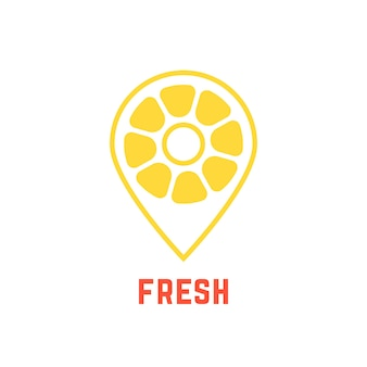 Lemon icon like map pin. concept of nutrition, citric, pointer, search, find bar, freshness, plant, cafe spot. isolated on white background. flat style trend modern brand design vector illustration