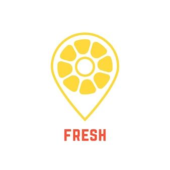 マップピンのようなレモンアイコン。栄養、クエン酸、ポインター、検索、検索バー、鮮度、植物、カフェスポットの概念。白い背景で隔離。フラットスタイルトレンドモダンブランドデザインベクトルイラスト