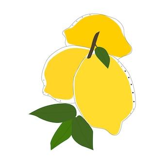Lemon illustration isolated vector. summer design concept. art element.