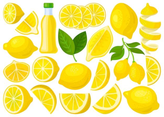 Лимонный изолированных мультфильм установить значок. иллюстрация цитрусовые на белом фоне. мультфильм набор иконок лимон.