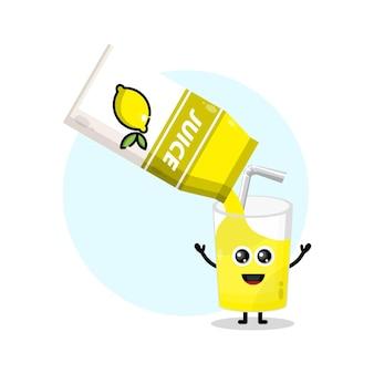 レモンジュースボックスガラスかわいいキャラクターロゴ