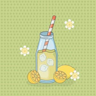 Lemon juice fruit in bottle with straw