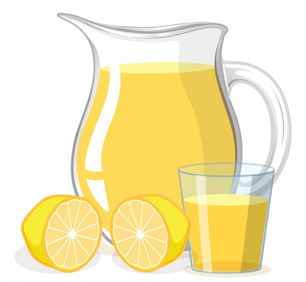 Lemon juice in glass and jug on white background