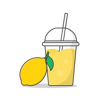 持ち帰り用プラスチックカップのイラストでレモンジュースまたはミルクセーキ。フラットスタイルの氷とプラスチックカップの冷たい飲み物