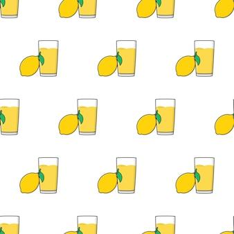 흰색 배경에 레몬 주스 원활한 패턴입니다. 레몬 테마 벡터 일러스트 레이 션