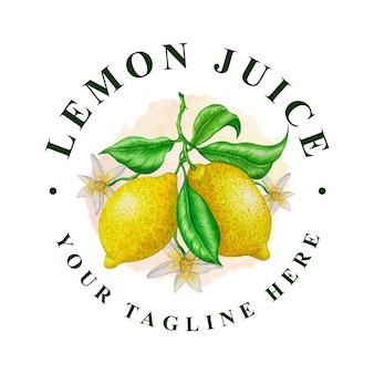 レモンジュースの水彩画のロゴ