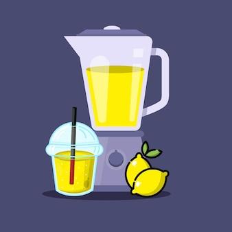 믹서기 귀여운 캐릭터와 레몬 주스