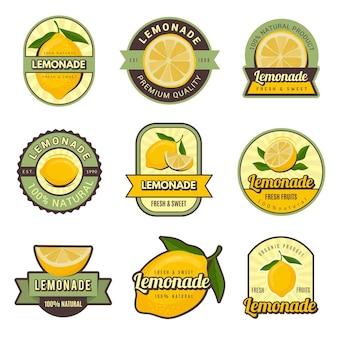 Lemon labels. retro badges for cold juice drinks lemonade stamps for restaurant menu  decoration set.