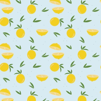 Lemon and leaves pattern on blue light background. vector illustration.