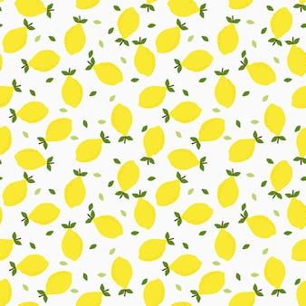Lemon and leaves seamless pattern.