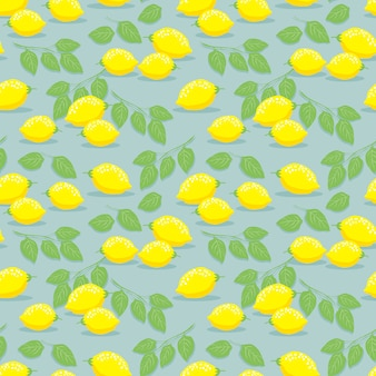 Lemon and leaves seamless pattern.